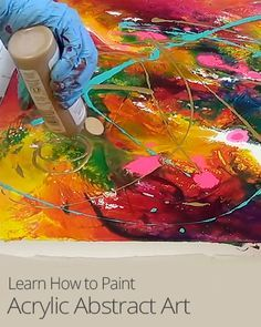Learn how to create #AbstractArt by pouring acrylic paint onto a textured canvas! #Paiting