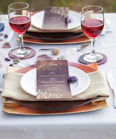 wooden menus and elegant table setting