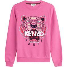 Kenzo Cotton Statement Sweatshirt (€165) ❤ liked on Polyvore featuring tops, hoodies, sweatshirts, kenzo, sweaters, pink, pink crew neck sweatshirts, pink top, pink long sleeve top and pink sweatshirts