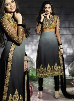 Captivating Black Georgette Embroidery Work Casual Churidar Suit