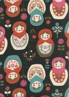 Japanese Kawaii Large Green Blue Red Pink Matryoshka  Fabric Half Yard