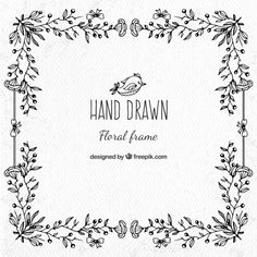 Decorative hand drawn floral frame Free Vector