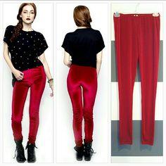 RED velvet leggins NWOT Goregous Red velvet-like leggings!!  Brand new nwot Made in the USA!  97% Polyester 3% Spandex Size Small Pants Leggings