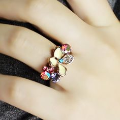 Bohemia Women's Rhinestone Colored Flower Design Ring, AS THE PICTURE, ONE SIZE(FIT SIZE XS TO M) in Rings   DressLily.com