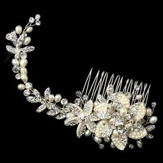 Alina Silver Freshwater Pearl Rhinestone Floral Vine Hair Comb Wedding Bridal Special Occasion Comb ** This is an Amazon Affiliate link. Be sure to check out this awesome product.