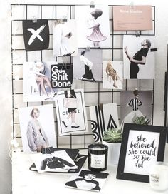 An iron mesh moodboard diy project has been in my to do list for years and I finally got around to do it this week! Below you find a step-by-step tutorial. My New Room, My Room, Dorm Room, Home Design, Design Room, Cadre Photo Diy, Pele Mele Photo, Diy Interior, Interior Design