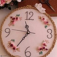 Personalized Wall Clock Christmas Gift for Her Embroidered Hand Embroidery Patterns Flowers, Embroidery Neck Designs, Basic Embroidery Stitches, Hand Embroidery Flowers, Hardanger Embroidery, Embroidery Hoop Art, Embroidery Techniques, Wedding Embroidery, Wall Clock Design