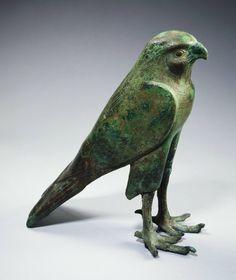 Egyptian, Late Period to Ptolemaic, Falcon deity, 664–30 B.C., Bronze | Princeton University Art Museum