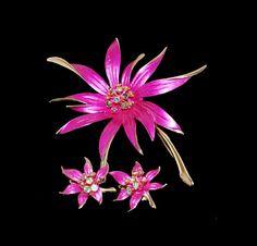 50s Fuchsia Enamel Flower Brooch & Earrings Set on Etsy, $42.00