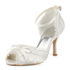 Ivory Dyeable Comfortable 3 Bow  Peep-toe D'Orsay - Satin Wedding shoes (12 Colors). OK...I think these are the ones!