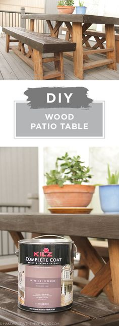 There's nothing like custom outdoor furniture to add a little style to your backyard. Check out this DIY wood patio table from Angela, of Handmade in the Heartland. Angela painted her old wooden table with a fresh coat of KILZ Complete Coat in Incense Stick. The result is a farmhouse chic piece of furniture that can withstand any damage caused by weathering. Click here to see more.