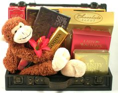 Gourmet Gift Trunk with Plush Monkey Coffee Candy, Coffee Gifts, Luxury Chocolate, Chocolate Gifts, Chocolate Lovers, Cute Gifts, Best Gifts, Godiva Chocolatier, Mother's Day Gift Baskets