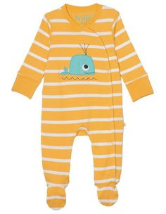 Frugi Swoop Breton Stripe Babygrow - Whale - Frugi - Adorable yellow and white Breton striped babygrow with adorable whale applique on the front and made from super soft organic cotton. Organic Brand, Organic Baby Clothes, Wal, Girls 4, Children, Kids, Baby Gifts, Organic Cotton, Baby Boy