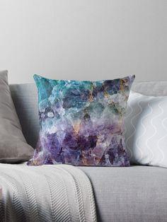 'Turquoise & Purple Quartz Crystal' Throw Pillow by TheQuarry Purple Quartz, Turquoise And Purple, Brown Throw Pillows, Decorative Throw Pillows, Bleu Violet, Bed Throws, Dresses With Leggings, Quartz Crystal, Floor Pillows