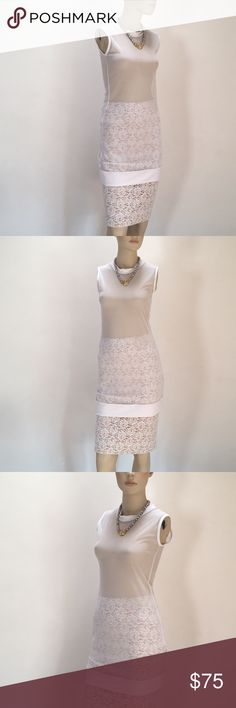 """NWOT Norma Kamali Sheer Mesh White Tunic/Dress🌸S This lovely and versatile Norma Kamali piece is from her Interactive Active line! In perfect condition, this can be worn as a work out top, a dressier layering piece or as a mini dress!  Never worn, washed once, with no flaws!  Measuring unstretched at 16.5"""" Bust x 14"""" Waist x 17.25"""" Hip—33"""" long, this has plenty of stretch!  80% micro nylon, 20% spandex, made in the USA!  Norma Kamali white lace skirt is also available. Norma Kamali Tops…"""