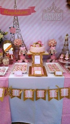 paris party, parisian gold and pink, poodle paris