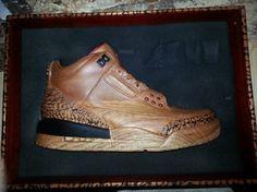 wooden air jordan iii 1 570x427 Air Jordan III Wooden Sculpture by Arnold Zpadaz