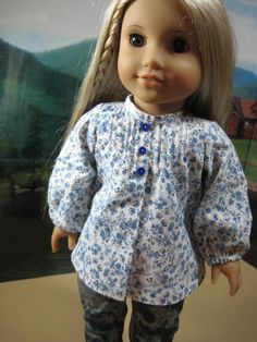18 inch Doll Clothes American Girl Pintuck Blue Floral Peasant Blouse for Julie
