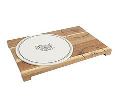 Fuente de degustaciones de porcelana y bambú I - blanco y natural