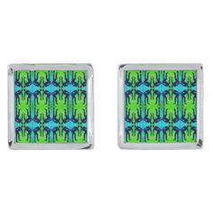 Designer Cufflinks Blue Green Female Figure Silver Cufflinks - blue gifts style giftidea diy cyo