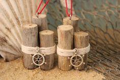 Driftwood Christmas Ornaments -Set of 2, Nautical Piling Ornaments, Coastal Christmas Ornaments