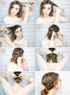 Messy Braided Ponytail for Shorter Hair - Tutorial Wonder Forest: Design Your Life. Short Hair Ponytail, Braided Ponytail, Braid Hair, Messy Hair, Curly Hair, Pretty Hairstyles, Braided Hairstyles, Summer Hairstyles, Simple Hairstyles