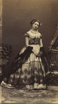 "fashionsfromhistory: "" "" Up Close: Clara by André-Adolphe-Eugène Disdéri 1862 MET "" "" Victorian Women, Victorian Fashion, Vintage Fashion, Historical Costume, Historical Clothing, Old Photography, Fashion Photography, Ladies Evening Wear, 1870s Fashion"
