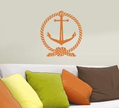 Anchor Wall Decal - Vinyl graphics sticker - Nautical rope and anchor beach decor - great for Boating lovers. $17.00, via Etsy.