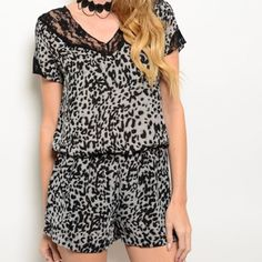 Leopard and Lace Romper This romper is made of 100%Polyester with lace embellishments. Available in sizes S,M and L.  If you don't see a listing in your size please let me know and I will create a listing for you right meow! 🐯 Other