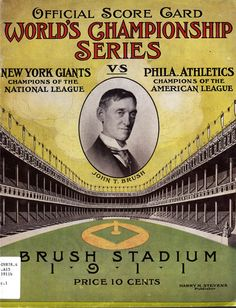 1911 World Series between the New York Giants and Philadelphia Athletics at Brush Stadium, also known as the Polo Grounds.