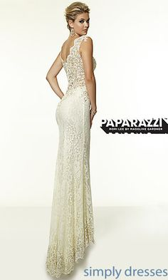 Long Lace V-Neck Dress by Mori Lee at SimplyDresses.com