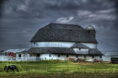 Large oval barn with silo in HDR | Flickr - Photo Sharing!