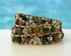 Edelweiss... Leather wrap bracelet... typical by OceanBead on Etsy