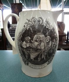 English cream ware Liverpool pitcher with transfers of English Arms King's Constitution, etc., some wear to transfers but sound, fine condition and rare subjects.