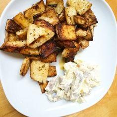 Sellerie-Bratkartoffeln und Matjessalat