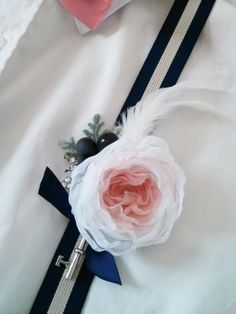 Vintage Key boutonniere made by Mademoiselle Artsy - Pink and Navy handmade fabric flower boutonniere Blush Pink Wedding Flowers, Blush Pink Weddings, Wedding Bouquets, Vintage Keys, Fabric Flowers, Artsy, Navy, Handmade, Hale Navy