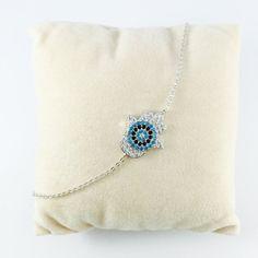 Hamsa Bracelet, Protection Bracelet, White Gold Hamsa, Protection Jewelry, Cubic Zirconia Hamsa, Protection Charm, Dainty Bracelet