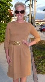 Joy of Palm Beach ELIZABETH McKAY Pleat Dress ~ Camel -This dress is just pure timeless!