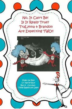 Twin pregnancy announcement  thing one thing two