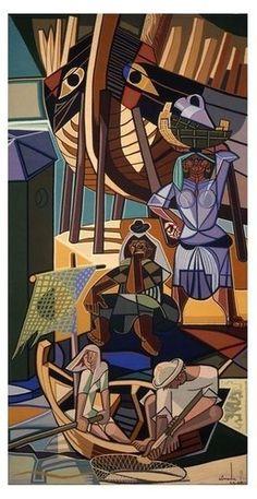 """""""A partida dos emigrantes"""" (1947-49)  - Painéis da Gare Marítima da rocha Conde de Óbidos. Almada Negreiros Portugal"""