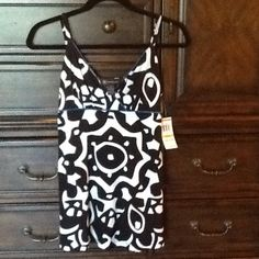 Brand new INC top. Size small. Never worn. Black and white with blue trim cute INC top. Size small. Brand new. Has tag. Tops