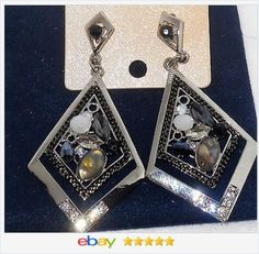 50% OFF #ebay http://stores.ebay.com/JEWELRY-AND-GIFTS-BY-ALICE-AND-ANN Shell Crystal and Glass Dangle Earrings USA Seller