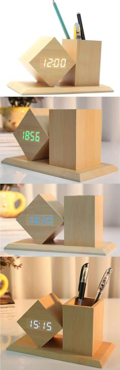 Wooden Alarm Clock Wood Bluetooth Wireless Stereo Speaker & Wooden Alarm Clock Office Desk Organizer Pen Pencil Holder Stand Collection Flower Pots Succulent Planter Planters Art Deco style that add a modern Vase look to your home decor.