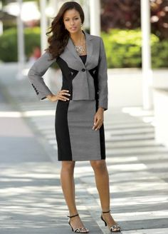 Right On Target Suit from Monroe and Main.   Trend-right styling flatters with strategically placed geometric details.