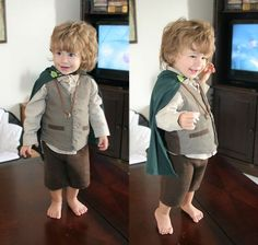 Look at this tiny hobbit! Look at him!!! I have found Andrew's next halloween outfit!