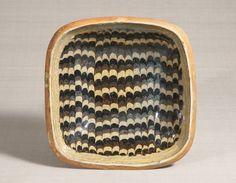 練上手鶉文角鉢〈ねりあげでうずらもんかくばち〉 1934年 幅27.2cm
