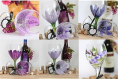 Purple #wine glasses in different floral designs! Great for #wedding decor, guest gifts, #bridesmaids and more! Put a hint of purple in your wedding
