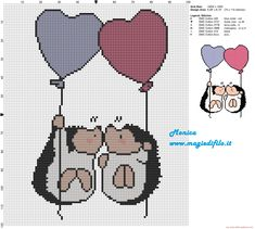 Porcupines in love cross stitch pattern 100x120 6 colors.  Two hedgehogs and two balloons.