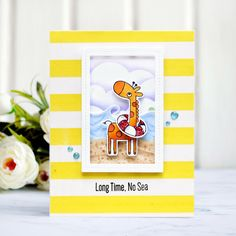 Card with giraffe, mft stamps, my favorite things, card with stripes, copic coloring, Giraffing Me Crazy,  cardmaking, clean and simple, cas, c&s
