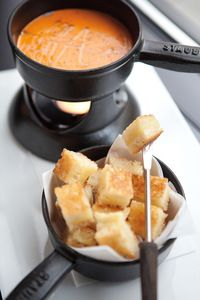 Tomato Soup Fondue with Grilled Cheese Bites! love grilled cheese and tomato soup!!